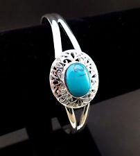 Turquoise cabochon 925 silver filigree cuff bracelet