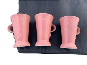 Homer Laughlin Fiestaware New Pedestal Mugs Lot of 3 retired Rose Fiesta MUGS