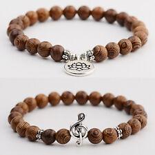 3Pcs/Set Natural Wood Beads Reiki Yoga Bracelet Men Women Bangle Fashion Jewelry