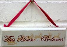 Chic & Shabby esta Asamblea cree De Madera Vintage Christmas Navidad Pared Cartel Placa