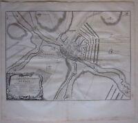 1737 PLAN CAMP RETRANCHEMENT DENAIN acquaforte Claude Du Bosc Valenciennes