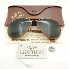 Vintage B&L Ray Ban Bausch & Lomb G15 Gray Outdoorsman Brown Leather 62mm w/Case