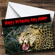 Scary Leopard Personalised Birthday Greetings Card