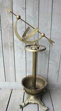 Antique Solid Brass Umbrella Cane Stand Victorian Armillary Zodiac Decor Vintage