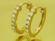 E027 Genuine 9ct Solid Yellow Gold NATURAL Diamond Huggies Hoop Earrings 0.50ct