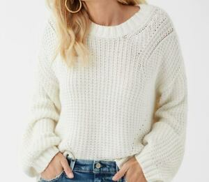$188 Splendid Sweater Natural White Long Sleeves Crew Neck XL