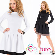 Ladies Classic Skater Dress Crew Neck Long Sleeve Cocktail Tunic Size 8-12 FA373
