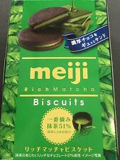 Meiji Rich Matcha Biscuits Chocolates Cookie Green Tea 6 Pieces MADE IN JAPAN