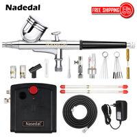 Nasedal Spray Gun Airbrush Kit Dual Action Compressor 0.3mm Airbrush Paint Set