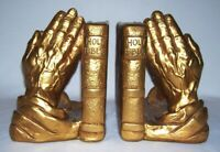 PROGRESSIVE ART PRODUCTS ~ Gilded HOLY BIBLE & PRAYING HANDS Bookends ~ 1965
