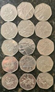 15 x Rare 50 Pence Coins Olympic coins Boccia , Vollyball ,Fencing