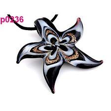 P0236 Cute handmade Starfish Lampwork glass beaded Pendant Necklace 18inch Cord
