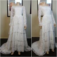 Vintage Retro 50s tiered lace white wedding bridal ballroom dress gown