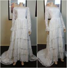 Vintage Retro 50s tiered lace white wedding bridal ballroom dress gown