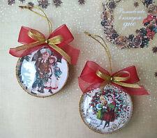 2 Ball Christmas Navidad Hanging Ornament Decor Handmade Vintage Style Medallion