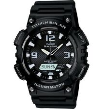 Casio AQS810W-1A Men's Black Solar Analog Digital World Time Sports Watch