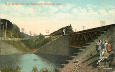 C-1910 Stamford Connecticut Railroad Bridge Rippowam Globe postcard 3379