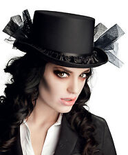 LADIES VICTORIAN BLACK TOP HAT BURLESQUE RIDING GOTHIC HALLOWEEN VAMPIRE NEW