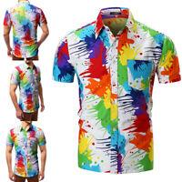 Mens Fashion Printed Short Sleeve Casual Shirts Tee Blouse Vacation Button Tops