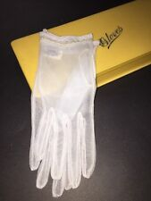Vintage 50s 60s Baby Blue Sheer Nylon Gloves NWT