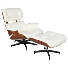 Plywood Lounge Chair Ottoman Palisander 100% WHITE TOP Genuine Italian Leather