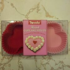 TOVOLO HEART SHAPED CUP CAKE HOLDERS 8 CUPCAKES MOLDS