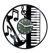 Gift for Musician Musical Instruments Kitchen Wall Clock Art Music Piano Guitar