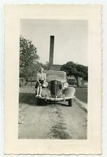 Beautiful Girl Sits on Old Car Fender Ohio License Tag Topper Vintage 1940 Photo
