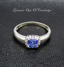 18ct White Gold Iolite and Diamond Ring Size N 3g