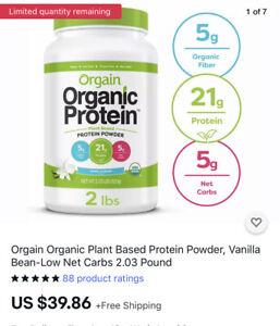 Orgain Organic Plant Based Protein Powder, Vanilla Bean-Low Net Carbs 2.03 Pound
