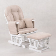 Baby Breast Feeding Sliding Glider Rocking Chair w/ Ottoman Foot Rest - White