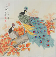 Original oriental Chinese brush watercolor autumn peacock birds painting a01