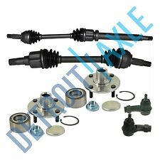 2 Front CV Axle Shafts + 2 NEW Tie Rods + 2 NEW Wheel Hub and Bearing Assembly