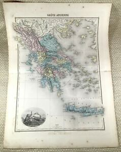 1903 Antique Map of Greece Ancient Greek Classical Old Hand Coloured Engraving