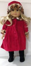 Red Coat and Hat with Faux Leopard Fur Trim Fits 18 inch American Girl Dolls