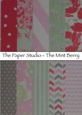 10pcs 6X6 CARDSTOCK, Paper Studio - The Mint Berry, Floral, Mint Green pink red