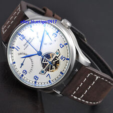 Parnis 43mm White Dial Seagull 2530 Power Reserve Movement Men's Automatic Watch