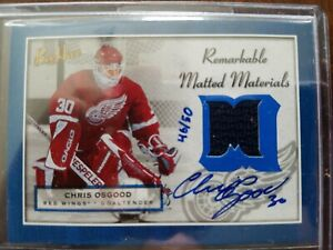 2005-06 UD Bee Hive /50 #MM-CO Chris Osgood Remarkable Matted Materials Auto Jsy