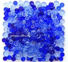 600 Sapphire Blue Mix Preciosa Czech Glass Bulk Faceted Rondelle Disc Beads
