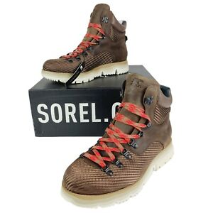 Men's Sorel Atlis Axe WP Waterproof Boots Brown Leather Lace Up Tobacco/Black