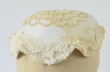 Antique Womens lace knit hat cap bonnet pill box stained zombie wear movie prop