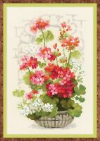 RIOLIS  1503  Geraniums  Kit  broderie  point de croix compté