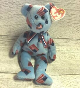 Union USA Flag Nose Bear 12th Gen 2003 Retired Ty Beanie Baby Collectible Mint
