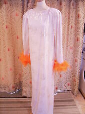 Drag Queen Cream/Gold Long dress with orange feathers