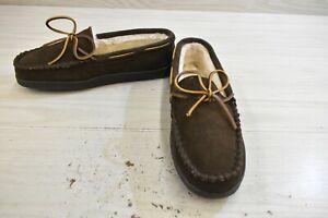 Minnetonka Pile Lined Hardsole Slippers, Men's Size 10 W, Chocolate MSRP $49.95