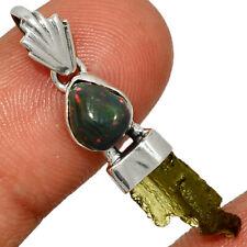 Genuine Czech Moldavite & Chalama Black Opal Rough 925 Silver Pendant AP192746