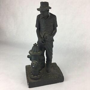 Signed Michael Garman Man peeing fire hydrant Ceramic Art Sculpture Bronze 1977