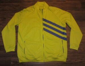 Adidas Golf Mens Full-Zip Track Jacket, Yellow, Polyester, Size 2XL, EUC