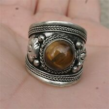 Big Adjustable Tibetan Weaving Dotted Round Tiger Eye Gemstone Dorje Amulet Ring