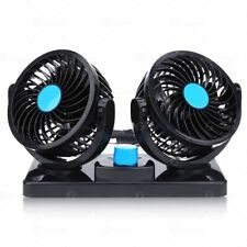 Zone Tech 12V Dual Head - Car Auto Cooling Oscillating Ventilation Air Fan 360°